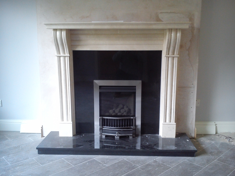 Gazco e Box with Dublin Corbel surround fabricated chimney breast