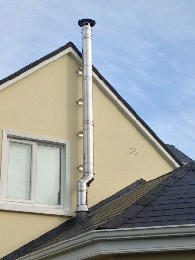 Twin Flue on gable through Sunroom