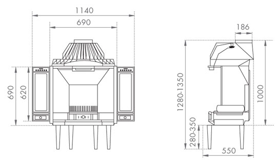 Dovre-2000-fireplace-with-optional-canopy-side-panels