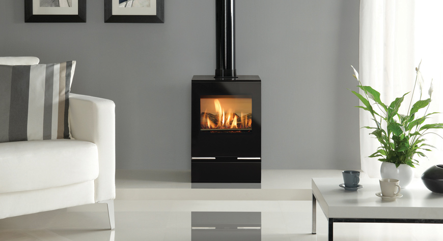 Featuring A Highly Realistic Log Effect Fire Our Contemporary Collection Of RivaTM Vision Gas Stoves Is Efficient And Comes In Four Stylish Sizes